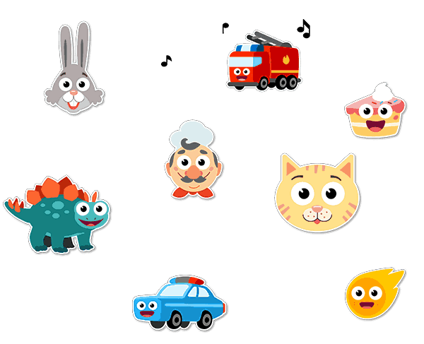 Example of stickers (car, rabbit, car, dinosaur) from Speech Blubs App