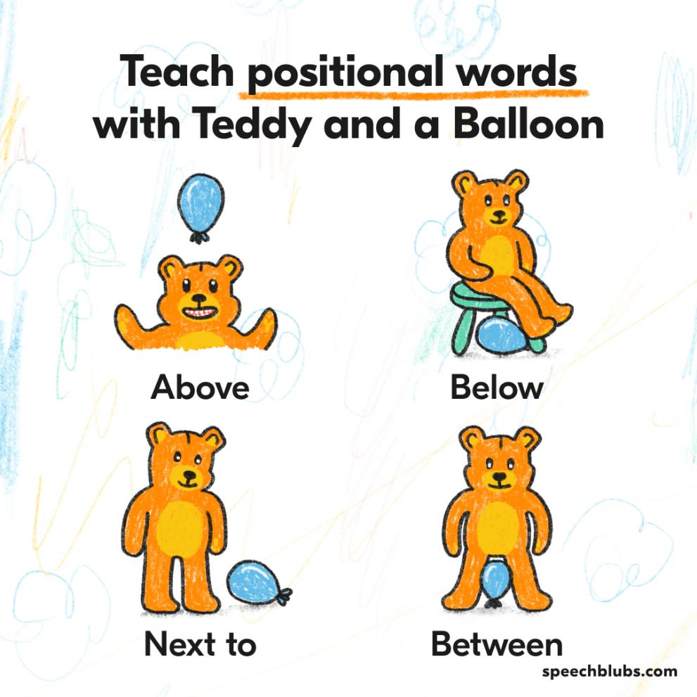 Teach positional words with Teddy Bear