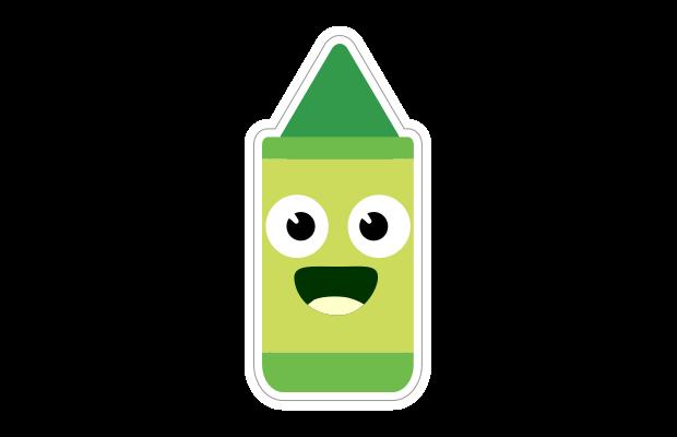 Green crayon sticker Speech Blubs app
